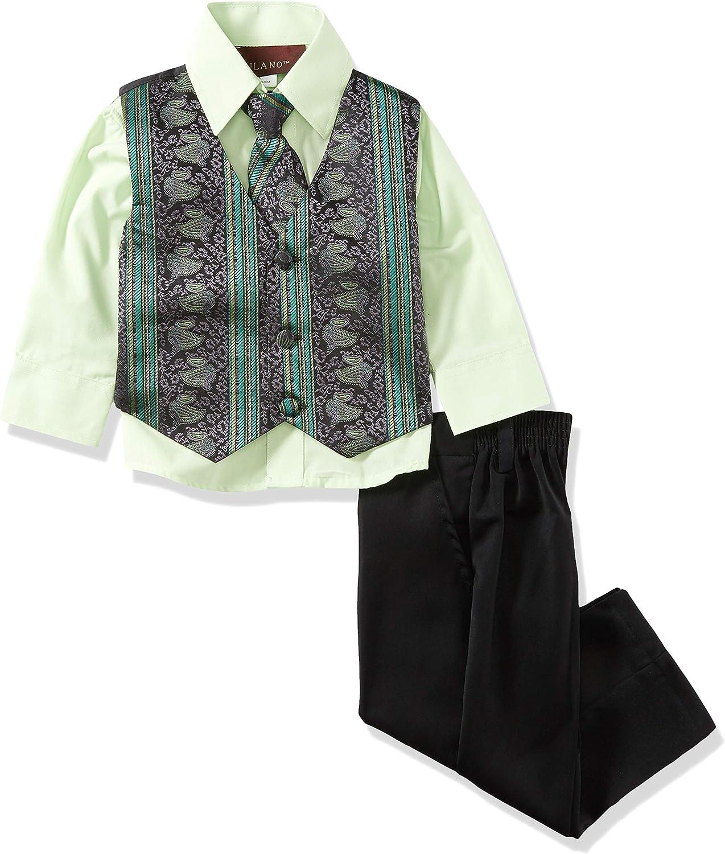 Milano Couture Boys 4 Piece Vest Suit Set