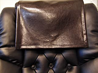 """luvfabrics 14"""" by 30"""" Brown Smooth Dark Houston Leather Vinyl Sofa, Loveseat, Chaise, Theater Seat, RV Cover, Chair Caps, Headrest Pad, Recliner Head Cover, Protector"""