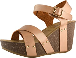 DailyShoes Women's Women's Women's Platform Wedge Sandals Slide On Comfort Thick Cork Board Criss Cross Sandal Buckle Shoes