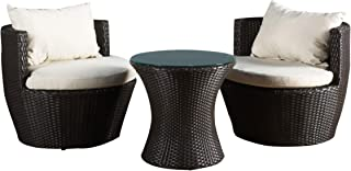 Christopher Knight Home 296323 Kyoto Outdoor Patio Furniture Brown Wicker 3-Piece Chat Set w/Cushions