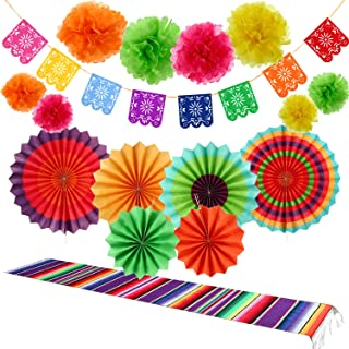 16 Pieces Fiesta Party Decorations Kit, 1 Mexican Serape Table Runner, 6 Fiesta Colorful Paper Fans Round Wheel Disc, 8 Po...