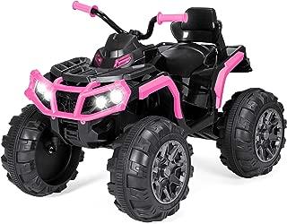 Best Choice Products 12V Kids 4-Wheeler ATV Quad Ride On Car Toy w/ 3.7mph Max, LED Headlights, AUX Jack, Radio - Pink