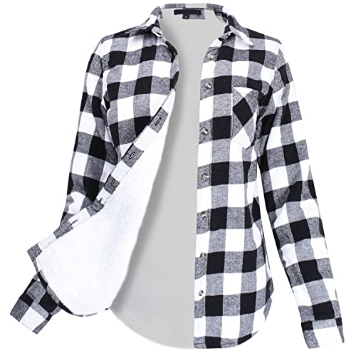 Ladies Code Womens Winter Flannel Plaid Button Down Top with Sherpa Fleece Lining
