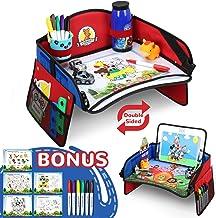 Lenbest Doppelseitig Kinder Reisetisch, Abnehmbare Tablet-Tasche und Seitentaschen Knietablett Reisetisch, mit Dual-Use-Transparenter Zeichnungsfilm  5 Zeichenpapier  6 Farbstifte