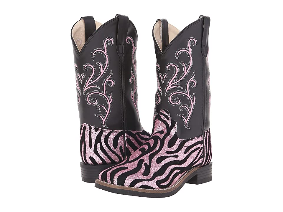 Old West Kids Boots Leatherette Western Boots (Toddler/Little Kid) (Leatherette Zebra Glint Print) Cowboy Boots