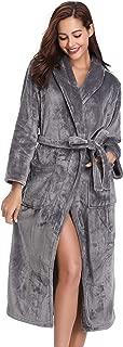 Women's Warm Fleece Robe with Hooded, Soft Plush Bathrobe Fluffy Long House Coat