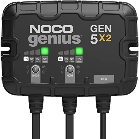 NOCO Genius GEN5X2, 2-Bank, 10-Amp (5-Amp Per Bank) Fully-Automatic Smart Marine Charger, 12V Onboard Battery Charger, Battery Maintainer And Battery Desulfator With Temperature Compensation
