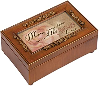 Cottage Garden Mom Your Love Means The World Woodgrain Embossed Jewelry Music Box Plays Wonderful World