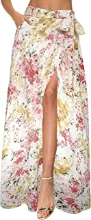 Afibi Womens Flowy Chiffon Summer Beach Wrap Split Maxi Skirts with Pockets