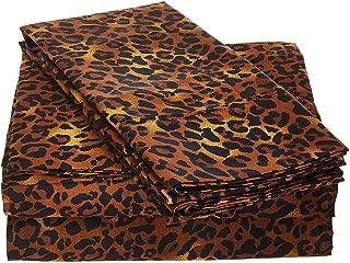 Way Fair Sheet Set Twin Extra Long Size Leopard Print 100% Cotton 600 Thread-Count (15