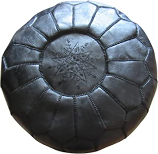 Marrakesh Gardens Unstuffed Genuine Leather Moroccan Hassock Pouf Pillow Cover, Authentic Handmade by Moroccan Artisans,