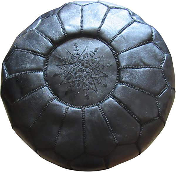 Marrakesh Gardens Unstuffed Genuine Leather Moroccan Hassock Pouf Pillow Cover Authentic Handmade By Moroccan Artisans