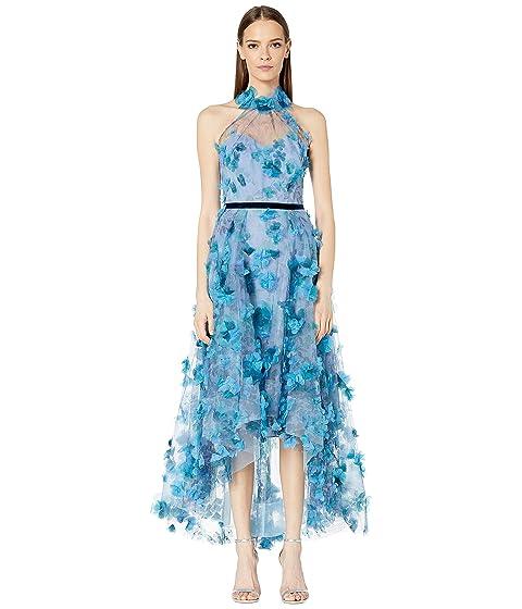 Marchesa Notte Halter Neck Printed Tea-Length Gown