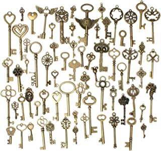 Gutapo 69pcs Skeleton Keys Charms Set Pendants Accessories for DIY Handmade Necklace Jewelry Making, Antique Bronze