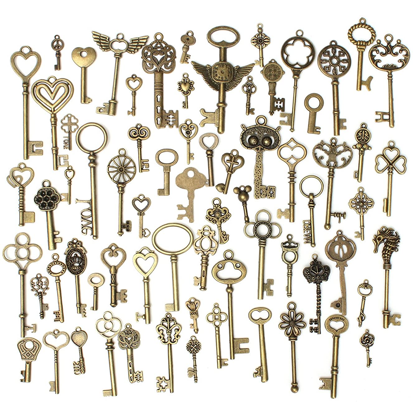 Gutapo 69pcs Skeleton Keys Charms Set Pendants Accessories for DIY Handmade Necklace Jewelry Making, Antique Bronze