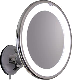 10X Magnifying Lighted Makeup Mirror With Chrome Finish, Locking Suction Mount And Ball Joint Swivel For Changing the Mirrors Angle (10X)