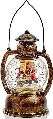 Mask & Co Boule à Neige de Noël 20cm Eau Lanterne avec LED Blanc Chaud
