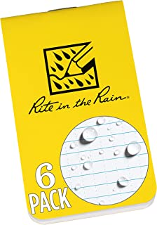 "Rite in the Rain Weatherproof On The Go Wallet Notebook, 2"" x 3.375"", Yellow Cover, Blank Pages, 6 Pack (No. OTG371L)"