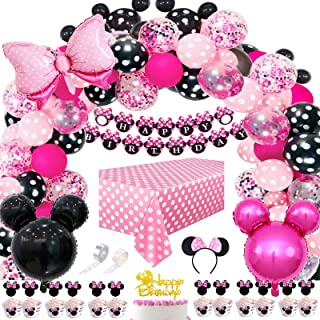 Danirora Minnie Mouse Balloon Arch, Minnie Mouse Party Decorations for Girls 1st 2nd 3rd Birthday Party Supplies Minnie Mo...