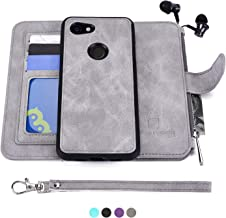 MODOS LOGICOS Google Pixel 3a Case, [Detachable Wallet Folio][2 in 1][Zipper Cash Storage][Up to 14 Card Slots 1 Photo Window] PU Leather Purse with Removable Inner Magnetic TPU Case - Grey