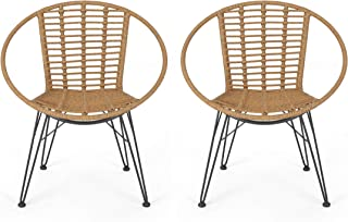 Great Deal Furniture Winnie Outdoor Wicker Dining Chairs (Set of 2), Light Brown and Black