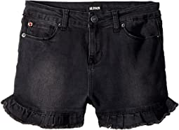 Hudson Kids - High-Waisted Ruffle Hem Shorts in Beaten Black (Big Kids)