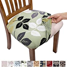 Comqualife Stretch Printed Dining Chair Seat Covers, Removable Washable Anti-Dust Upholstered Chair Seat Cover for Dining Room, Kitchen, Office (Set of 4, Green Leaves)
