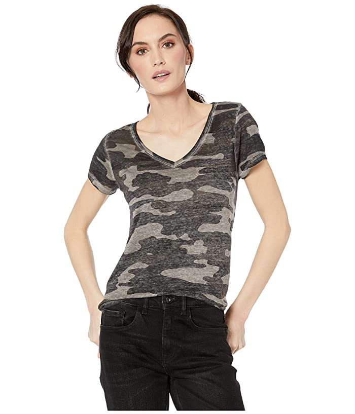 Lucky Brand  Camo Burnout Tee (Grey Multi) Womens T Shirt