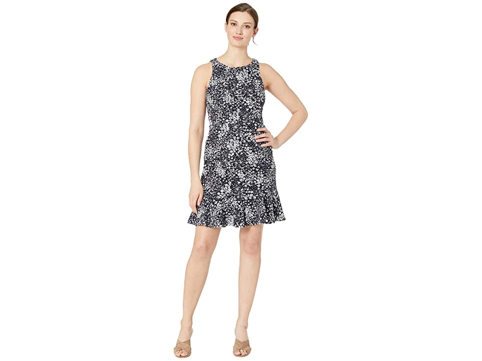 Nine West Sleeveless Ruffle Hem Dress (Navy/White) Women