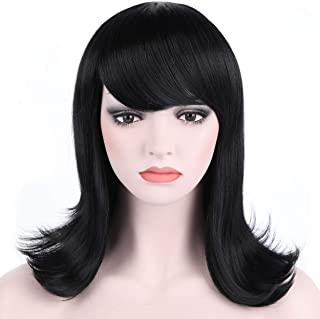 OneDor Women's Short Black Straight Hair 50s Cosplay Flip Wigs with Flat Bangs (1 - Black)