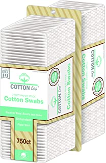 Cotton Too 750 Count Cotton Swabs With White Paper Stick, 2 Pack