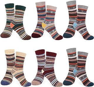Emooqi Hombre/Mujer Invierno Cálidos Calcetines, 6 Pares Calcetines de Lana algodón de Punto, Confort Casual de Invierno V...