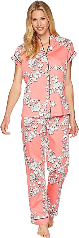 Coral Blossoms Short Sleeve Cropped Pajamas