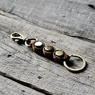 Genuine Distressed Leather Keychain Walnut Leather Key Holder Mens Key Chain Ring Fob