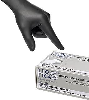 100 Guantes de Nitrilo de ISC H&S, sin polvo, en Small, Medium, Large, y X-Large. Desechables, sin látex, sin polvo, son ideales para manipular alimentos. (XXL, negro)