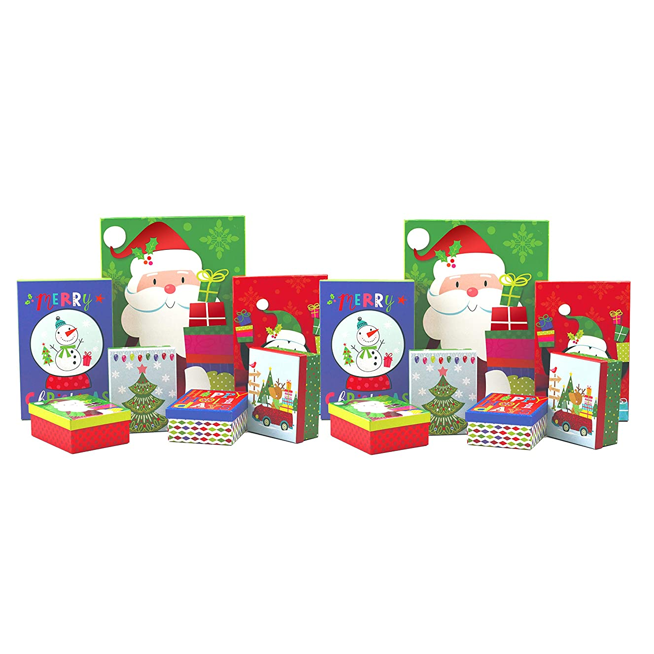 Christmas Gift Boxes with Lids - Reusable Holiday Gift Wrap Boxes for Christmas Presents - Great for Christmas Decor or Ornament Storage Boxes - Bulk Set of 14 Boxes