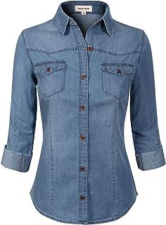05b73bf427a Instar Mode Women s Basic Classic Long Roll Up Sleeve Button Down Chambray Denim  Shirt Tunic