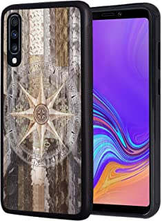 Galaxy A10E Case, Slim Anti-Scratch TPU Rubber Protective Case Cover for Samsung Galaxy A10E (2019) - Marine Theme Wood Background Rudder Like Compass Ocean Image