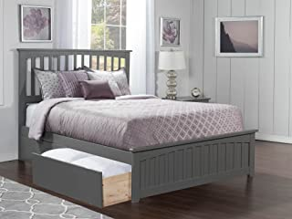 Atlantic Furniture Mission Platform Bed with Matching Foot Board and 2 Urban Bed Drawers, Queen, Grey