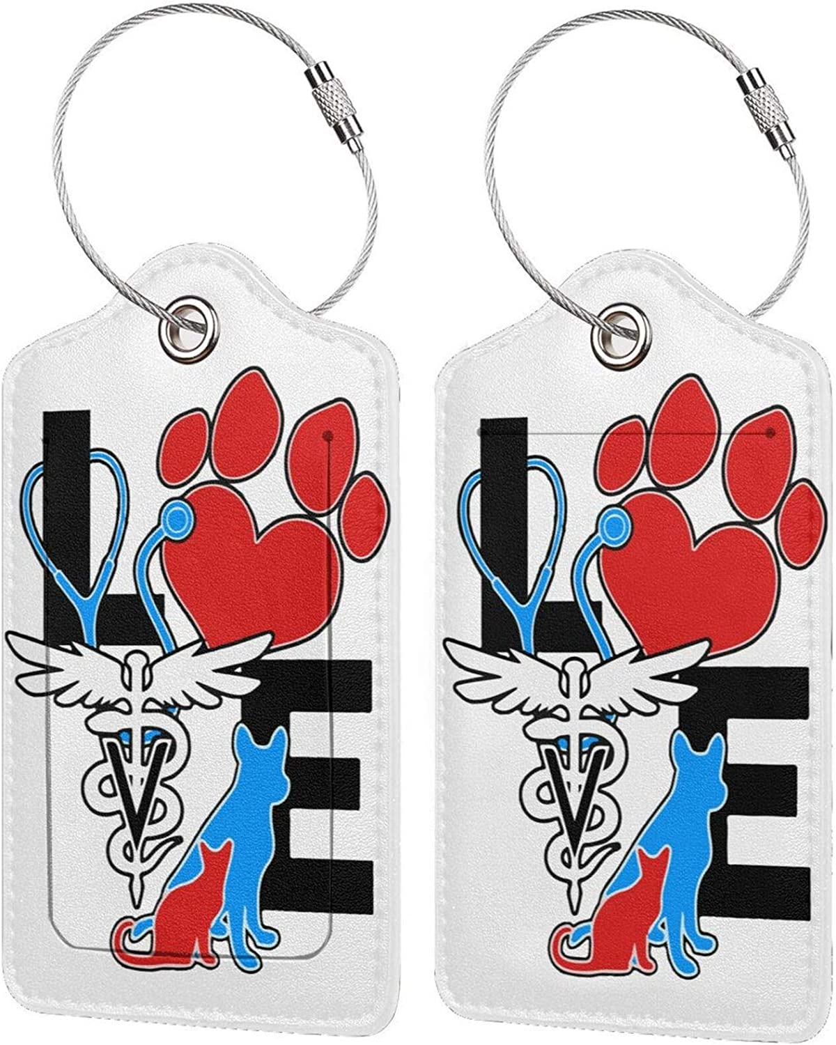 Manufacturer regenerated product Veterinarian Love Cat and Today's only Dog PU Leather Baggage w Rectangle tag
