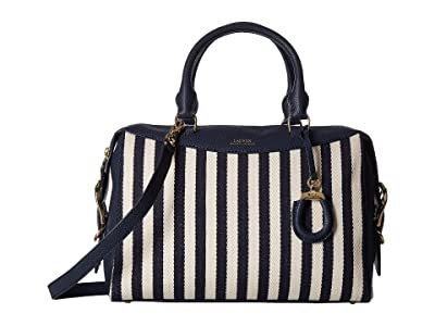 LAUREN Ralph Lauren Cornwall Striped Canvas Satchel (Navy/Ivory Stripe) Handbags
