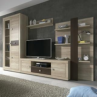 HomeSouth - Mueble de Comedor con Leds, Salon Vitrina Modelo Julieta, Acabado Color Cambria y Chocolate