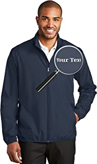 Custom Embroidered Jackets for Men - Windbreaker Zip Up Embroidery Coach Jacket