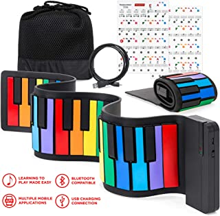 $39 » Best Choice Products Kids 49-Key Portable Flexible Roll-Up Piano Keyboard Toy w/Learn-To-Play App Game, Bluetooth Pairing, Note Labels (Rainbow)