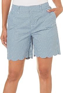 Caribbean Joe Women's Printed High Density Poplin Clean Front Skimmer Shorts