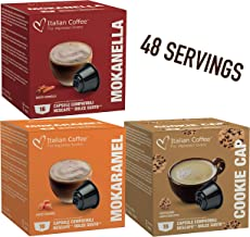 Delicitaly capsules compatible with Nescafe Dolce Gusto machines - Caramel, Cinnamon, Cookies - 48 servings (Sampler, 3 flavors mix, 48 Pods)