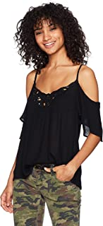 Angie Women's Cold Shoulder Top with Sequin Detail