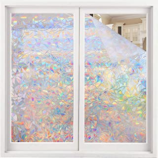 Rainbow Window Film,TEKKA Self Adhesive Privacy Film 3D No Glue Frosted Stained Glass Decorative for Glass Door Home kitch...