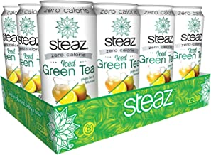 Steaz Organic Zero Calorie Iced Green Tea, Half & Half, 16 OZ (Pack of 12)