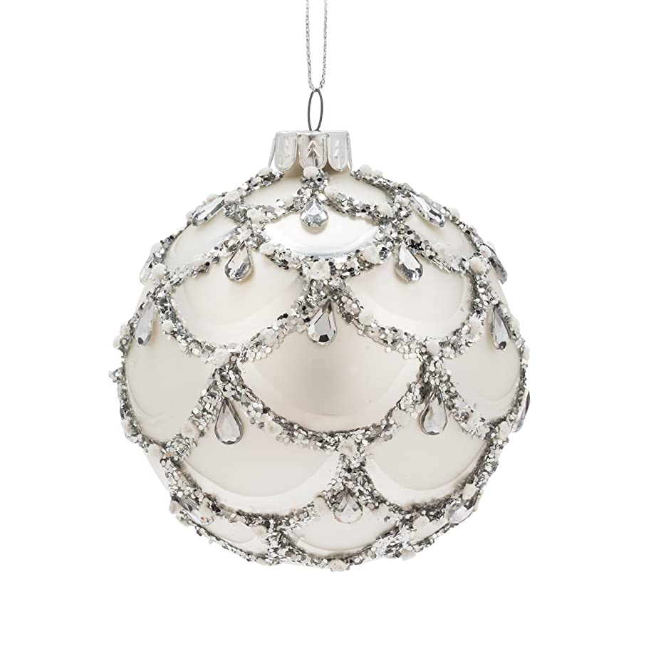 Abbott Collection 18-BALL-4341 Silver Swag Ball Ornament-3
